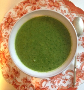 Indian spiced spinach soup with tahini