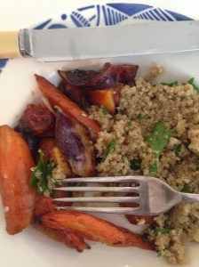 Carrots and dukkah grains