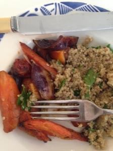 Carrots and dukkah grains